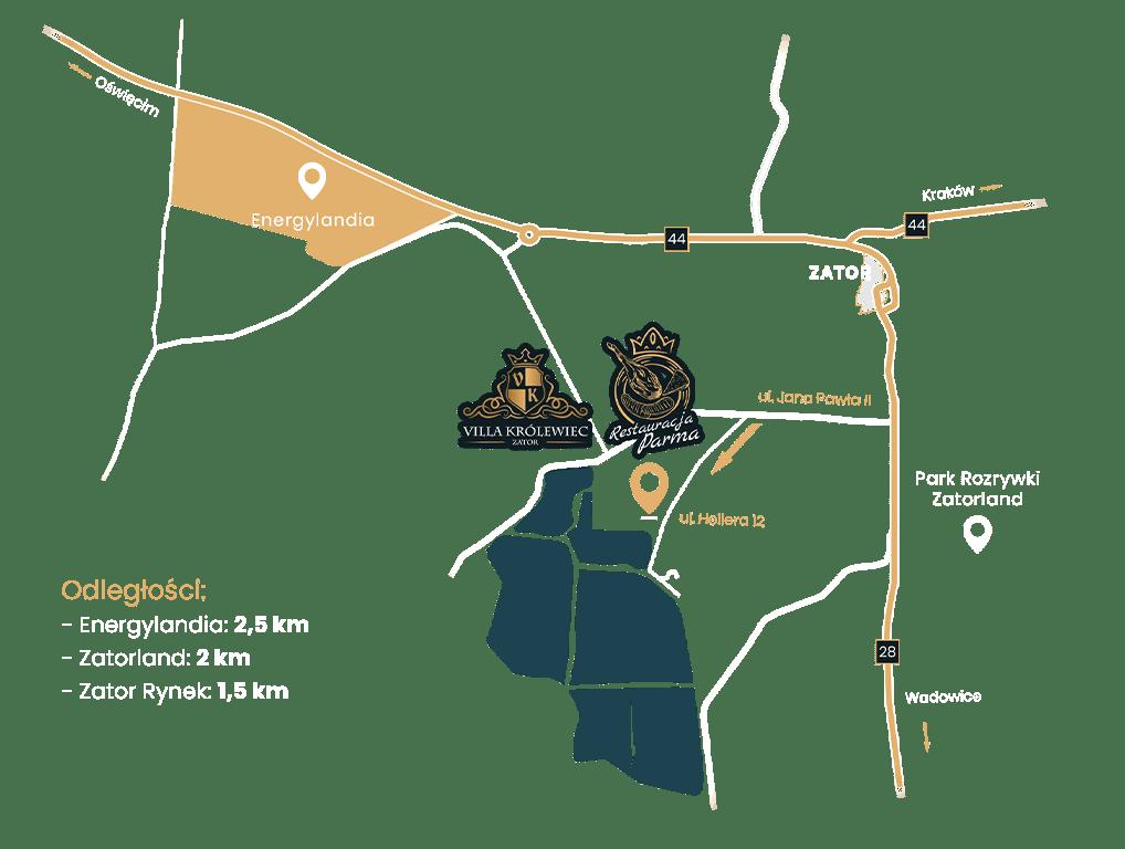 Mapa dojazdu do Restauracji Parma